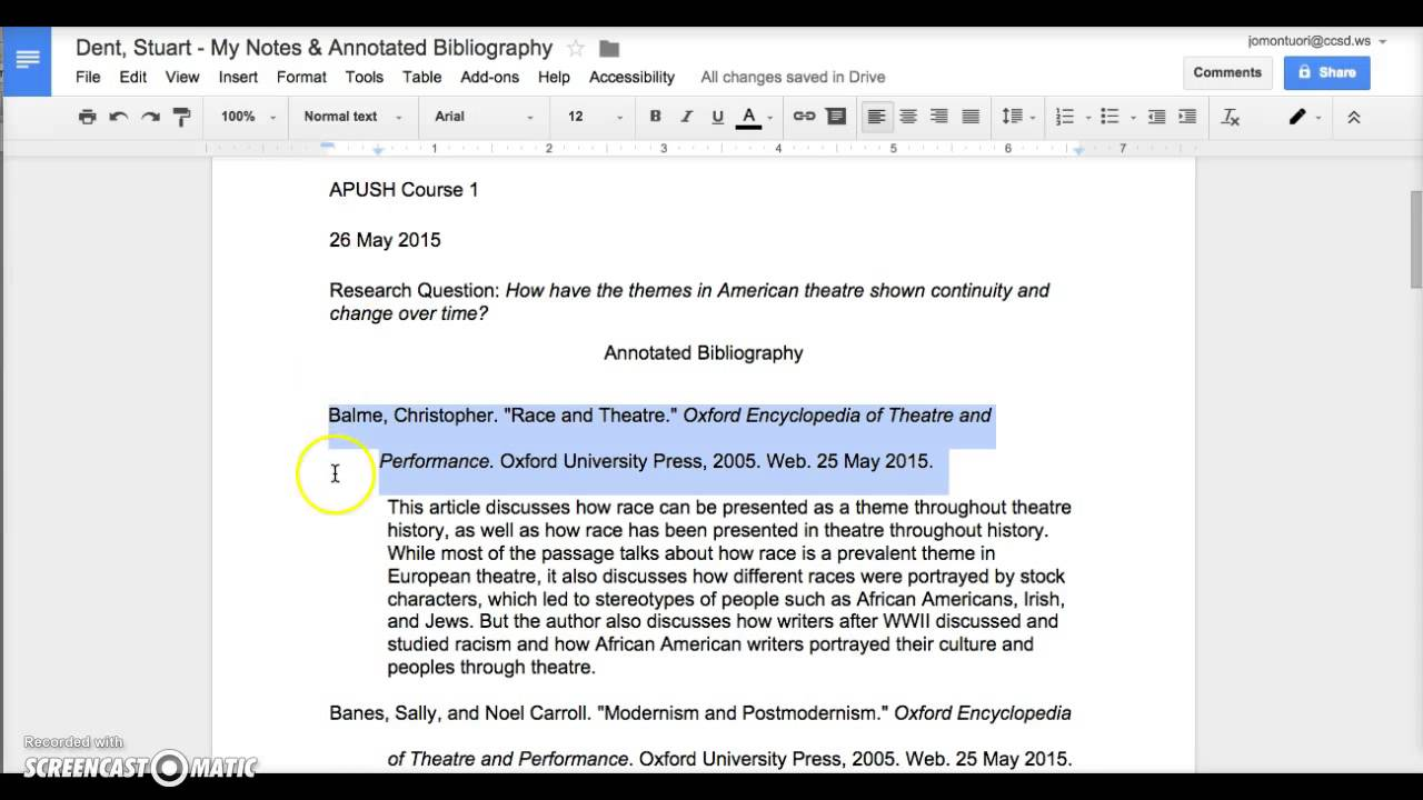 annotative bibliography stereotyping An annotated bibliography is an alphabetical list of books, websites, or articles for which you have added explanatory or critical notes the annotation is usually written in a paragraph, about 150 words, in which you briefly describe the book, website, or article cited, then add an evaluation and a critical comment of your own.
