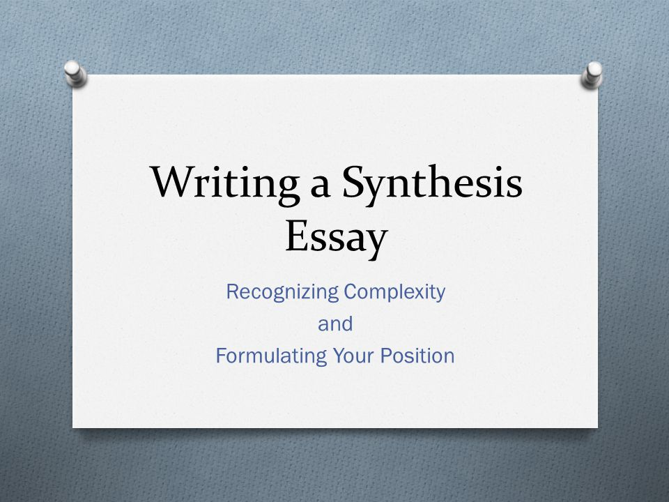 a sythesis paper